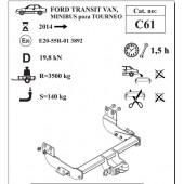 Фаркоп для TRANSIT VAN, MINIBUS кроме TOURNEO (фургон тип спринтер) артикул C61 с 2014года